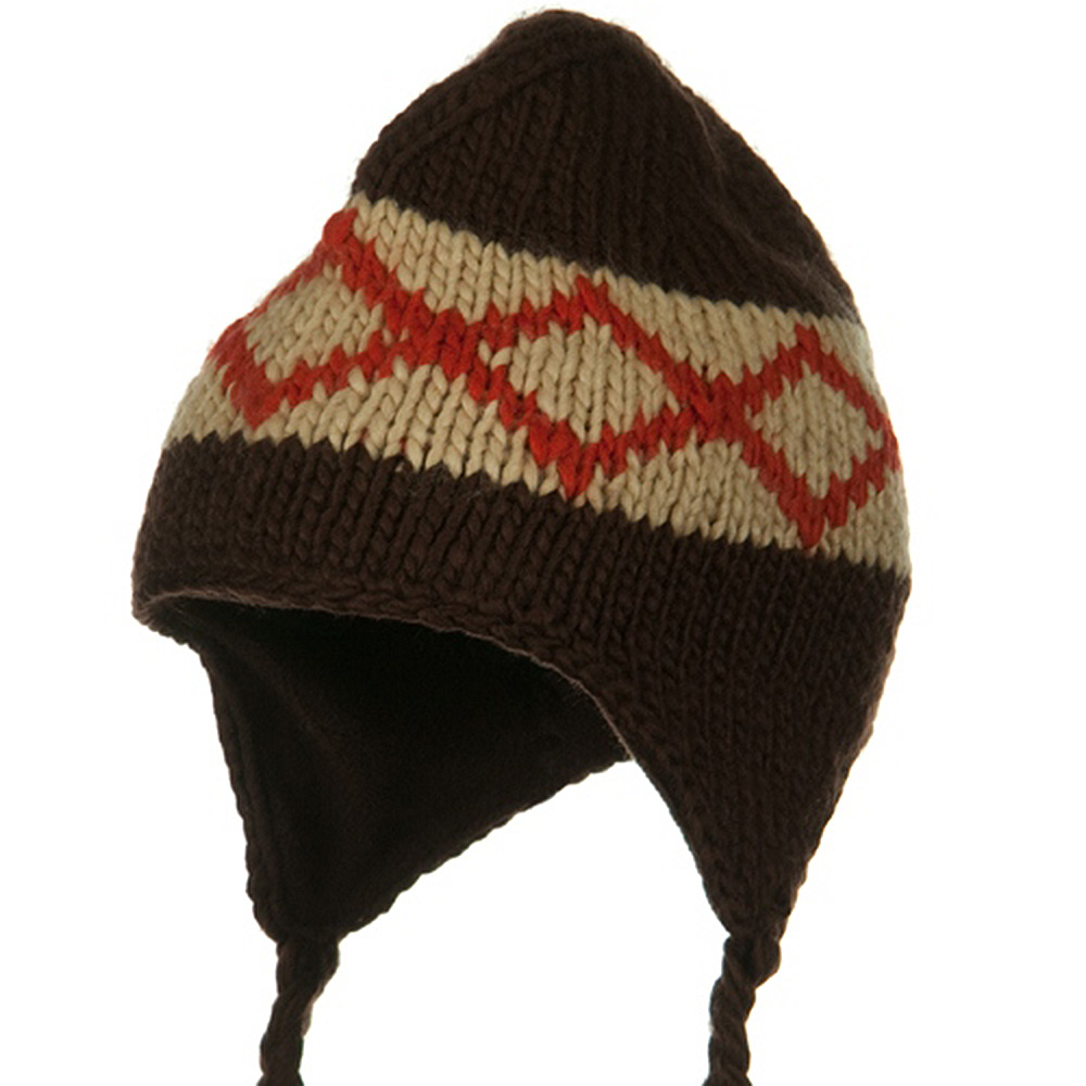 Kids Zig Zag Peruvian Beanie - Brown - Hats and Caps Online Shop - Hip Head Gear