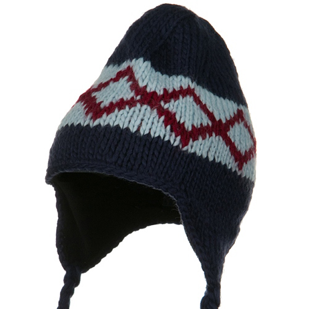 Kids Zig Zag Peruvian Beanie - Navy - Hats and Caps Online Shop - Hip Head Gear