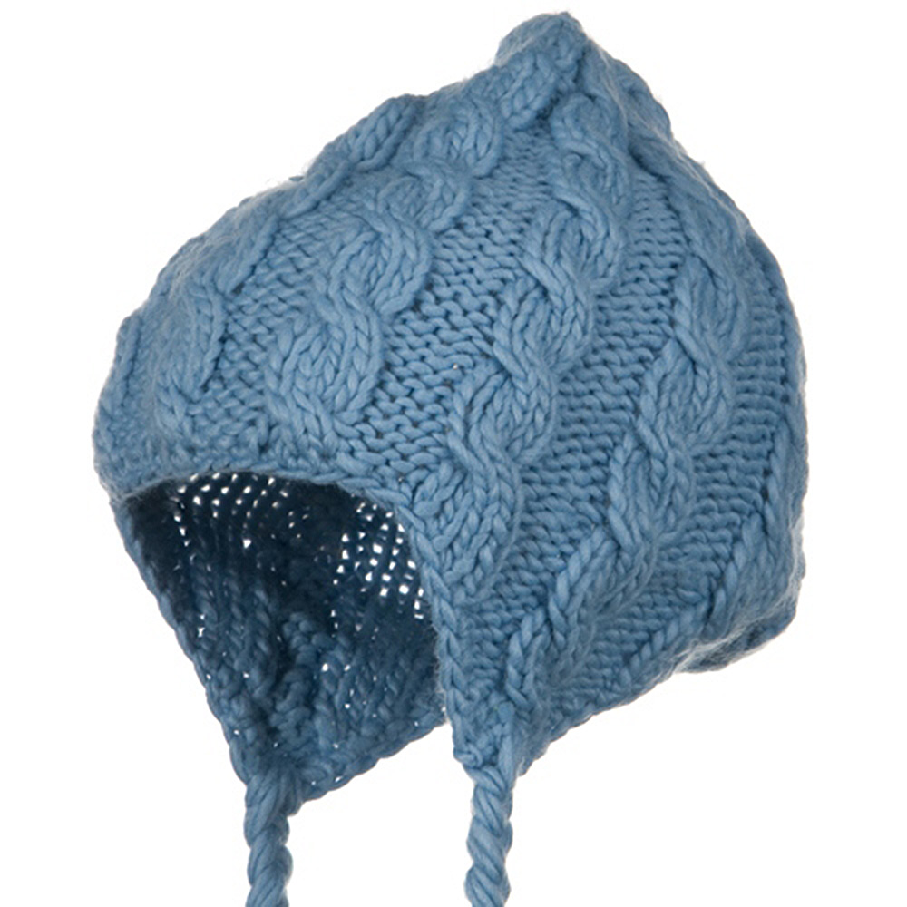 Cable Knit Peruvian Ski Beanie - Light Blue - Hats and Caps Online Shop - Hip Head Gear