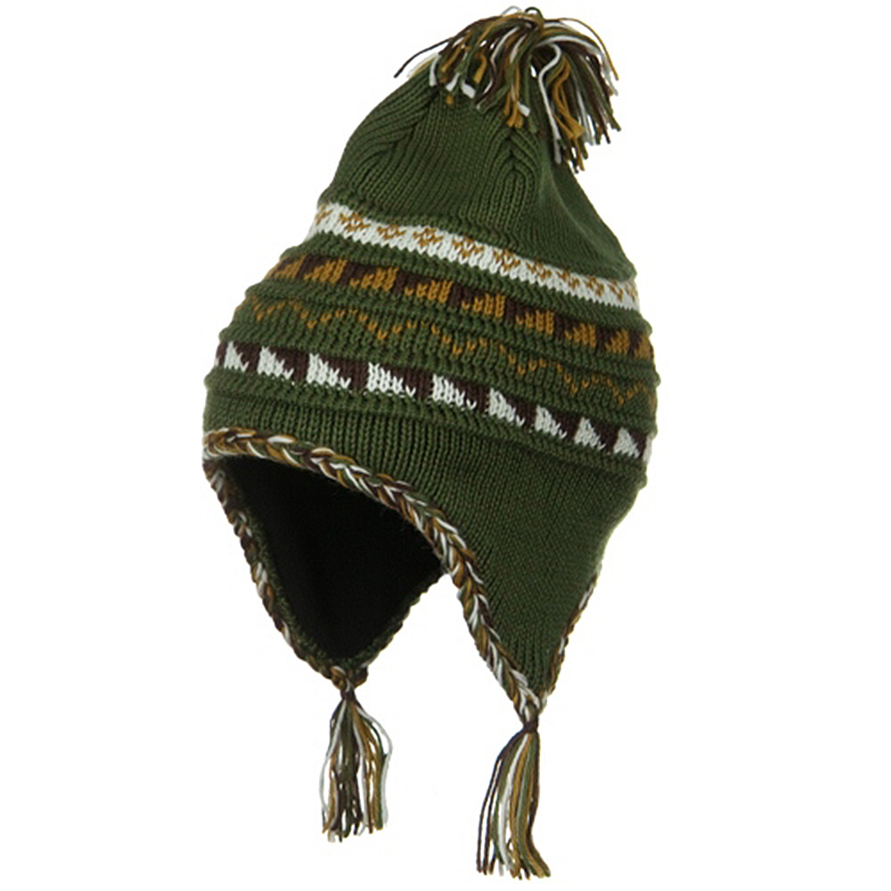 Acrylic Knit Peruvian Ski Beanie - Olive - Hats and Caps Online Shop - Hip Head Gear