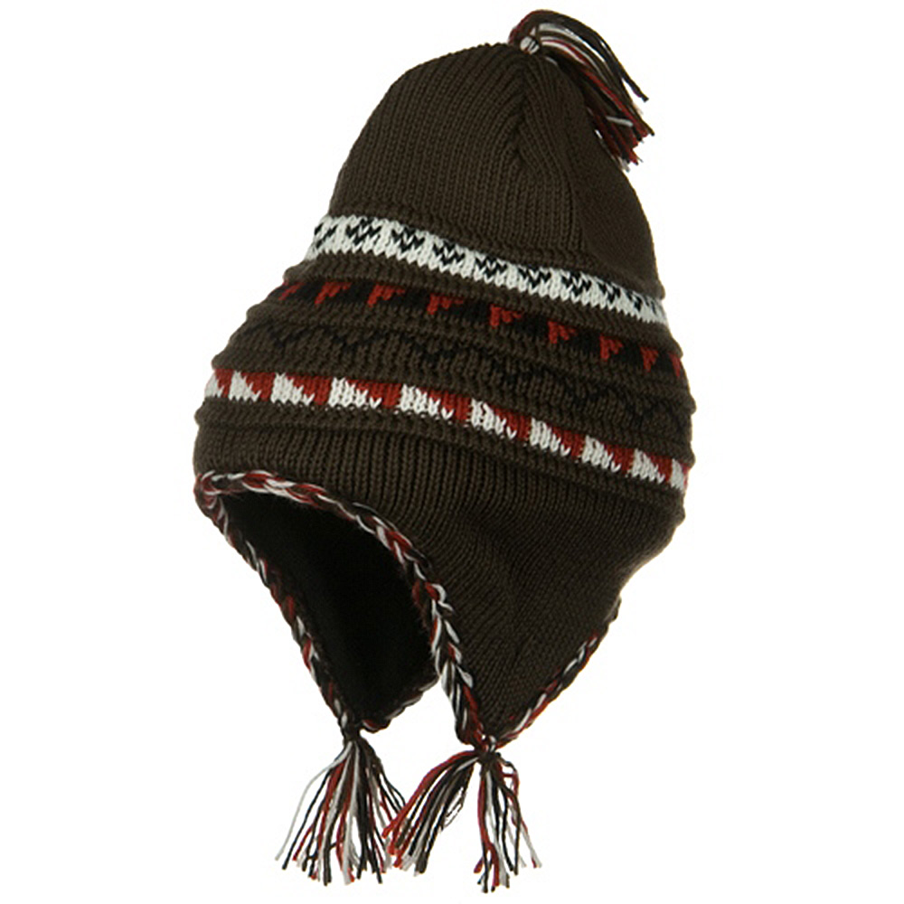 Acrylic Knit Peruvian Ski Beanie - Brown - Hats and Caps Online Shop - Hip Head Gear