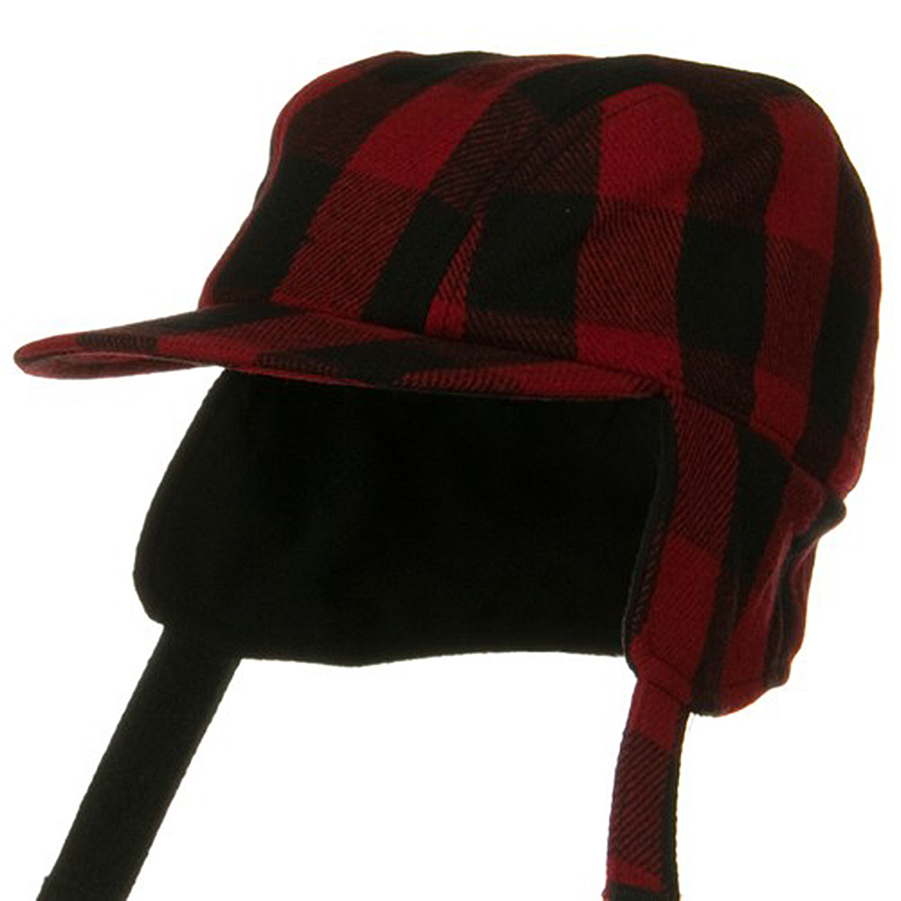 Traditional Plaid Work Cap - Red Black - Hats and Caps Online Shop - Hip Head Gear