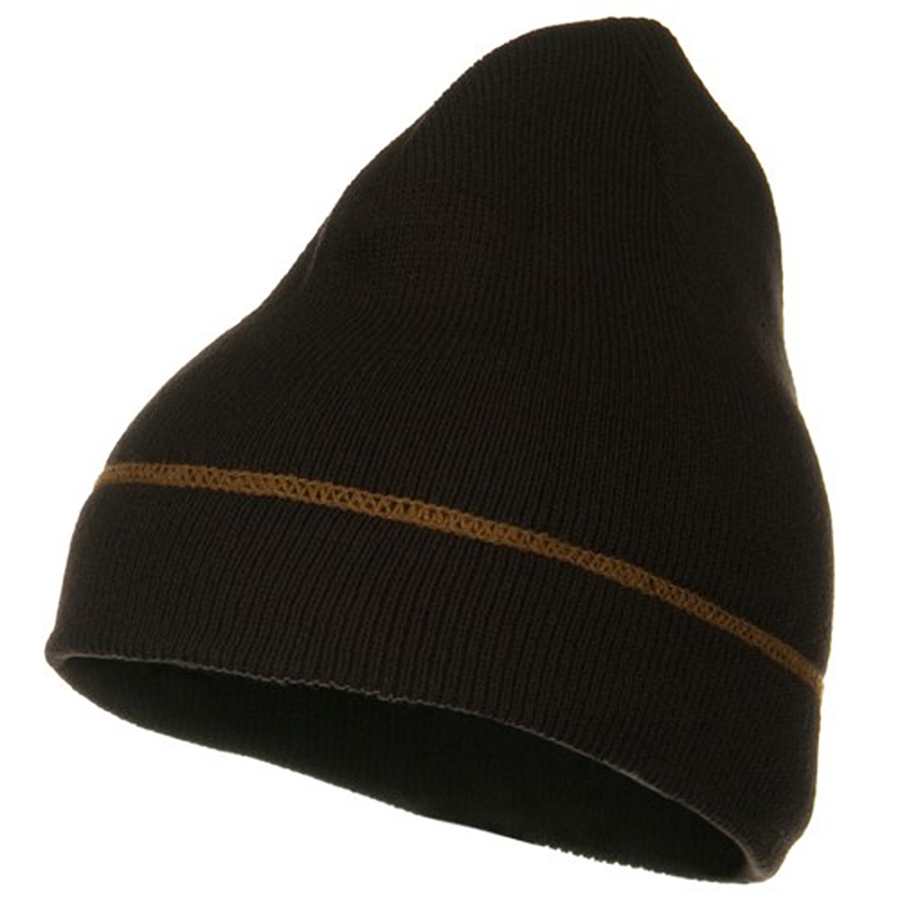 Contrast Stitched Solid Beanie - Brown - Hats and Caps Online Shop - Hip Head Gear