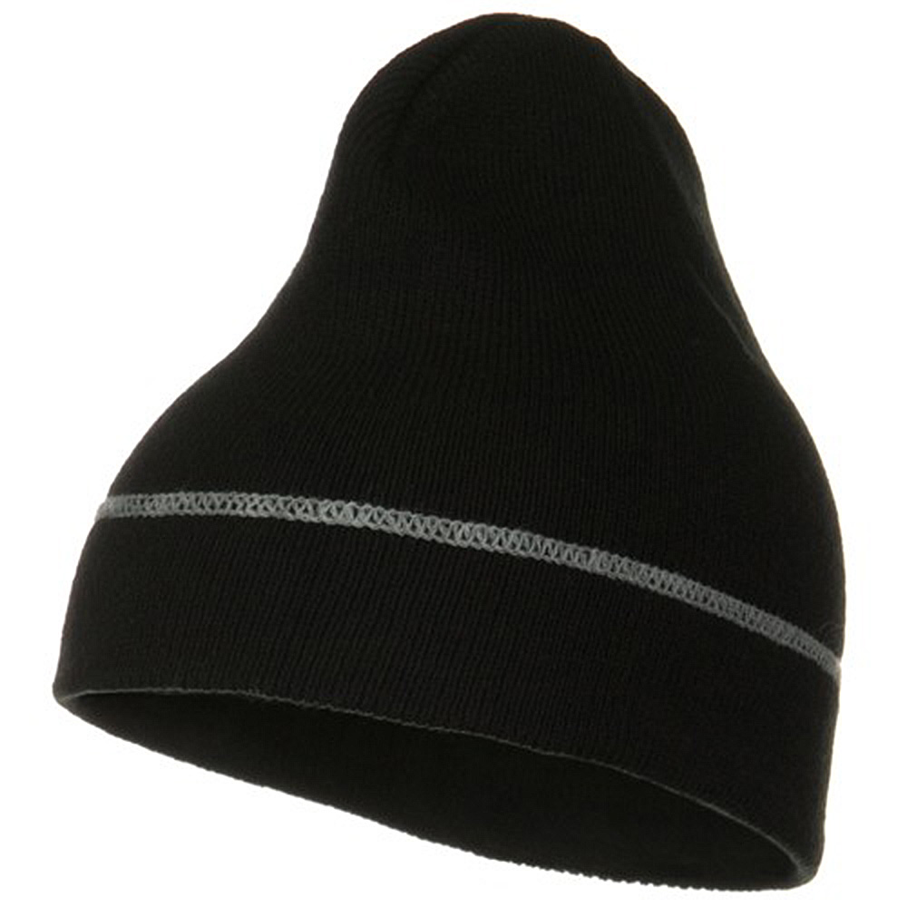 Contrast Stitched Solid Beanie - Black - Hats and Caps Online Shop - Hip Head Gear