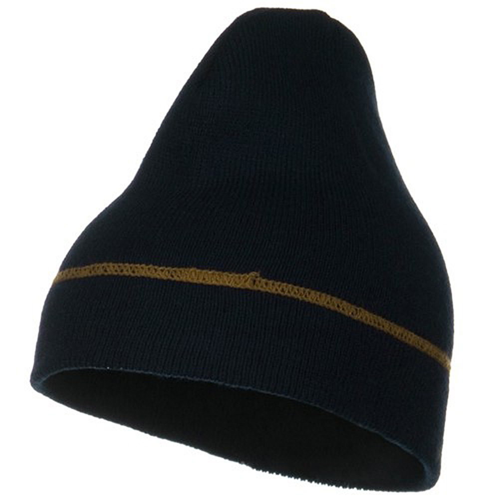 Contrast Stitched Solid Beanie - Navy - Hats and Caps Online Shop - Hip Head Gear