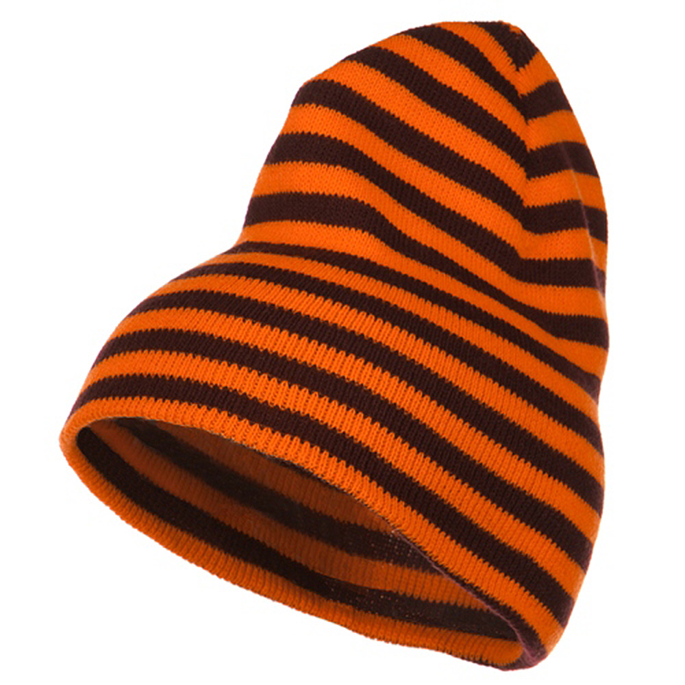 Trendy Striped Beanie - Orange Maroon - Hats and Caps Online Shop - Hip Head Gear