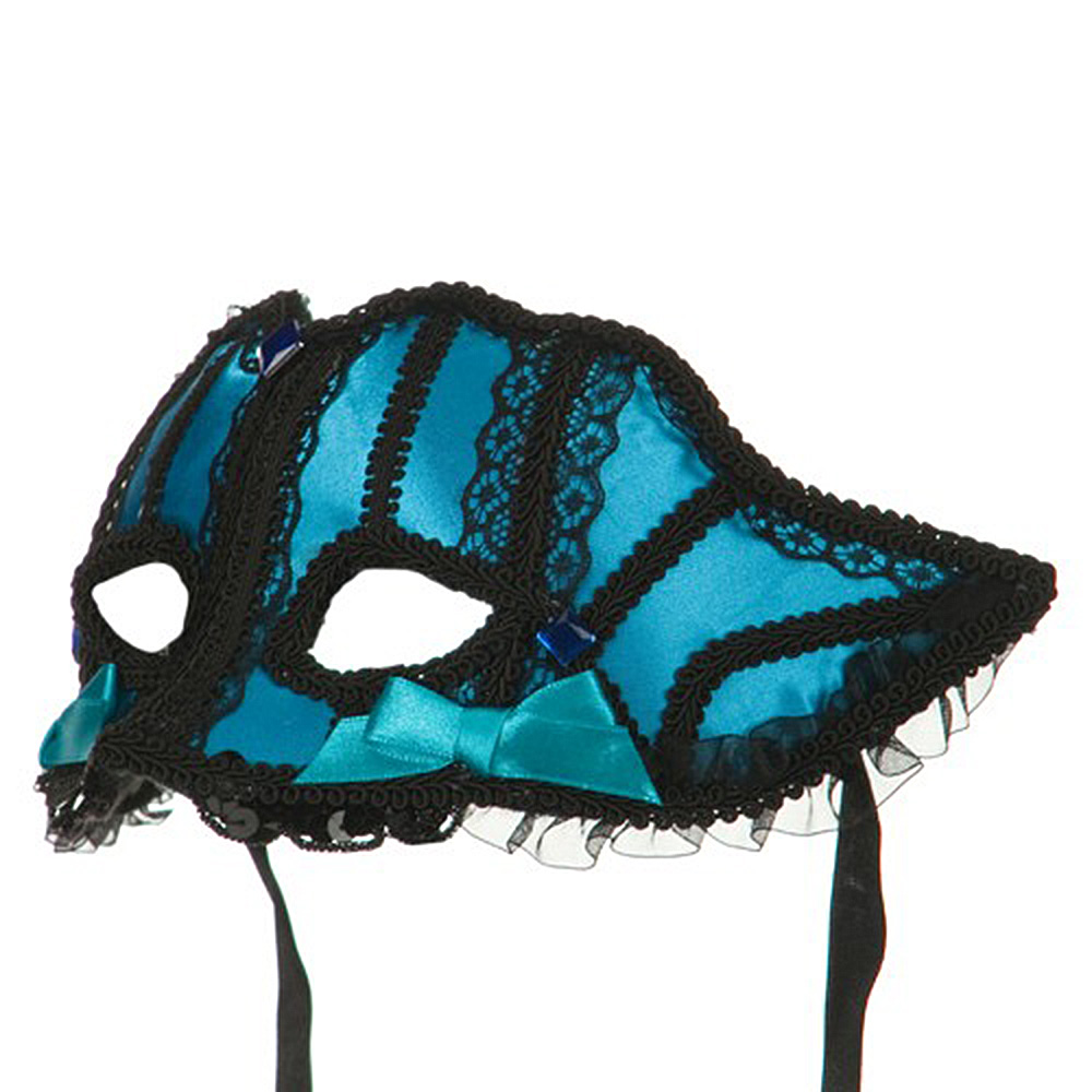 Jewel Colored Satin Lace Mask - Turquoise
