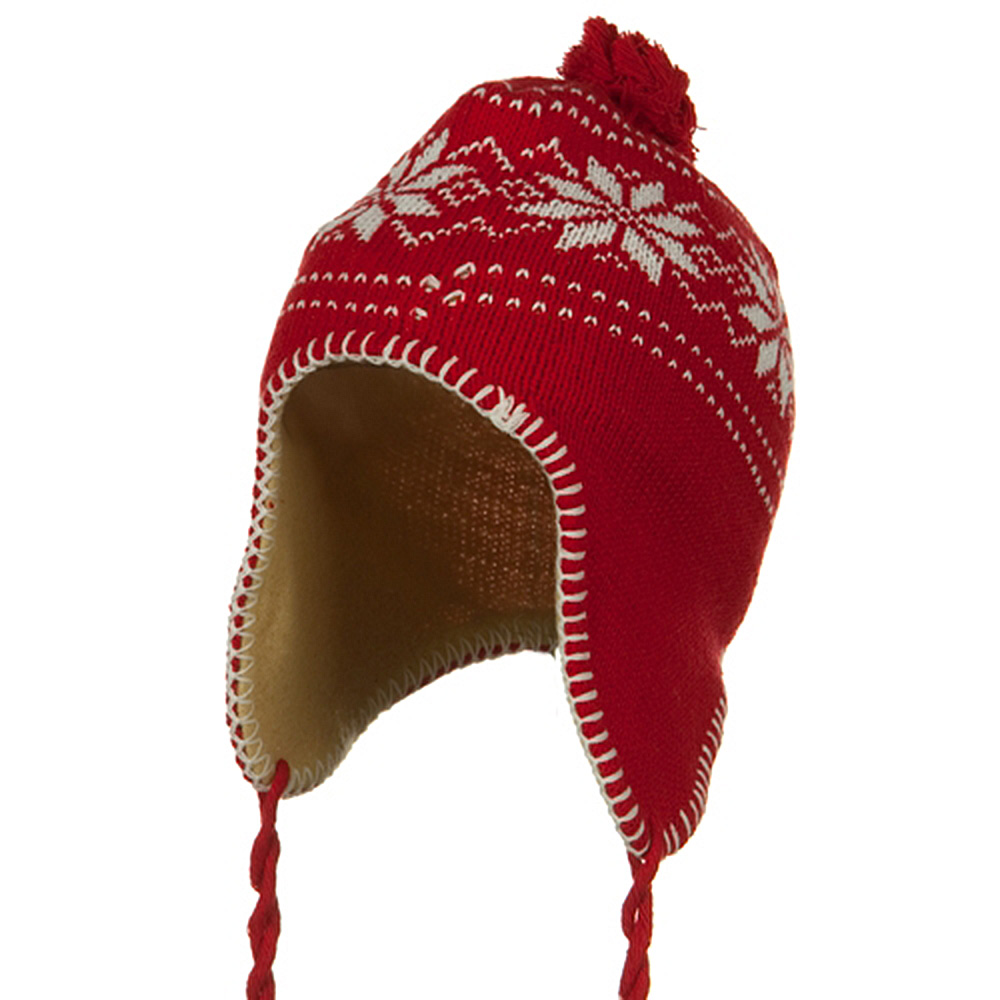 Junior Snow Ear Cover Knit Hat - Red - Hats and Caps Online Shop - Hip Head Gear