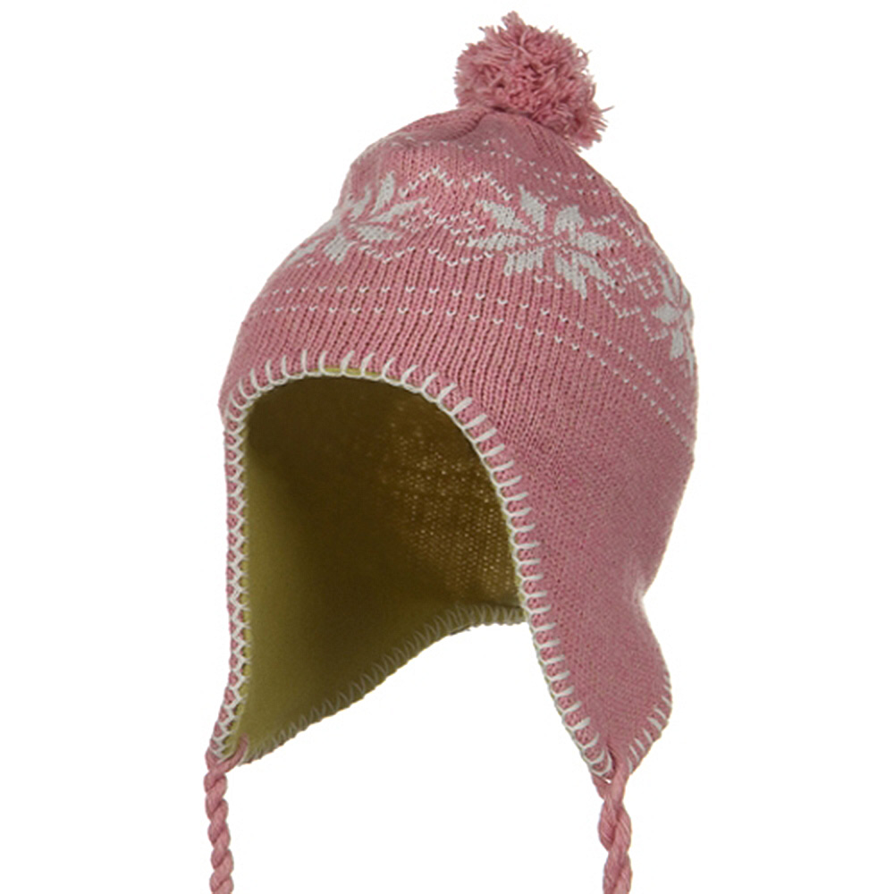 Junior Snow Ear Cover Knit Hat - Pink - Hats and Caps Online Shop - Hip Head Gear