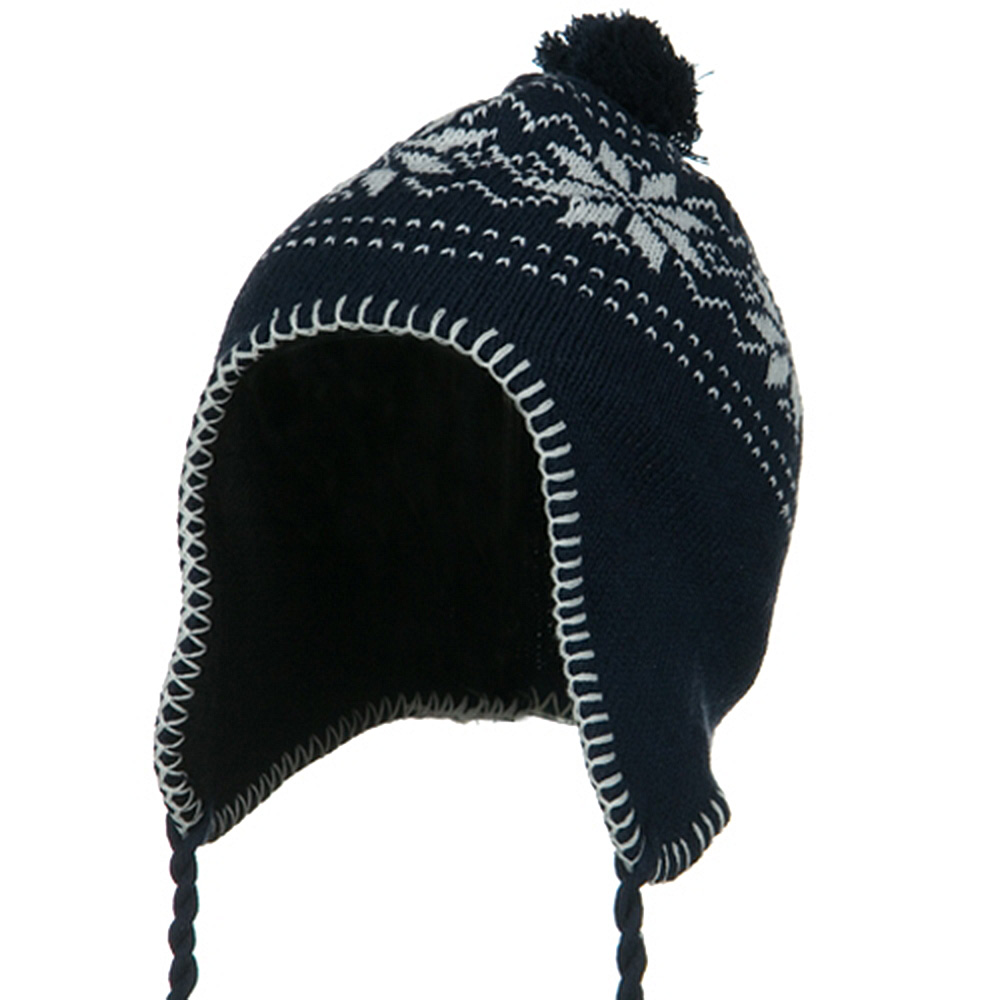 Junior Snow Ear Cover Knit Hat - Navy - Hats and Caps Online Shop - Hip Head Gear