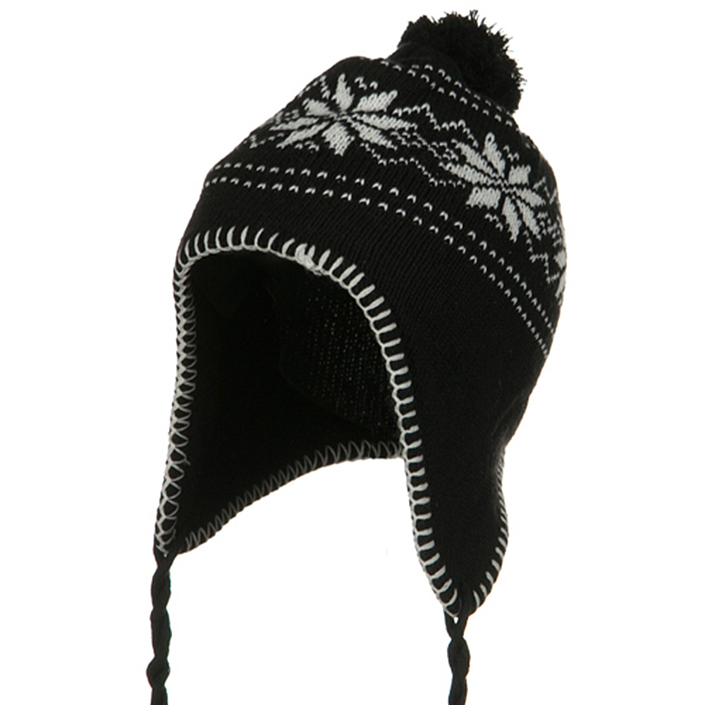 Junior Snow Ear Cover Knit Hat - Black - Hats and Caps Online Shop - Hip Head Gear