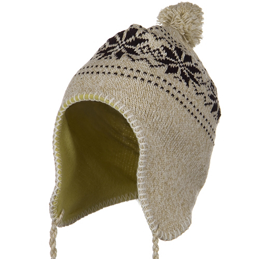 Junior Snow Ear Cover Knit Hat - Taupe - Hats and Caps Online Shop - Hip Head Gear