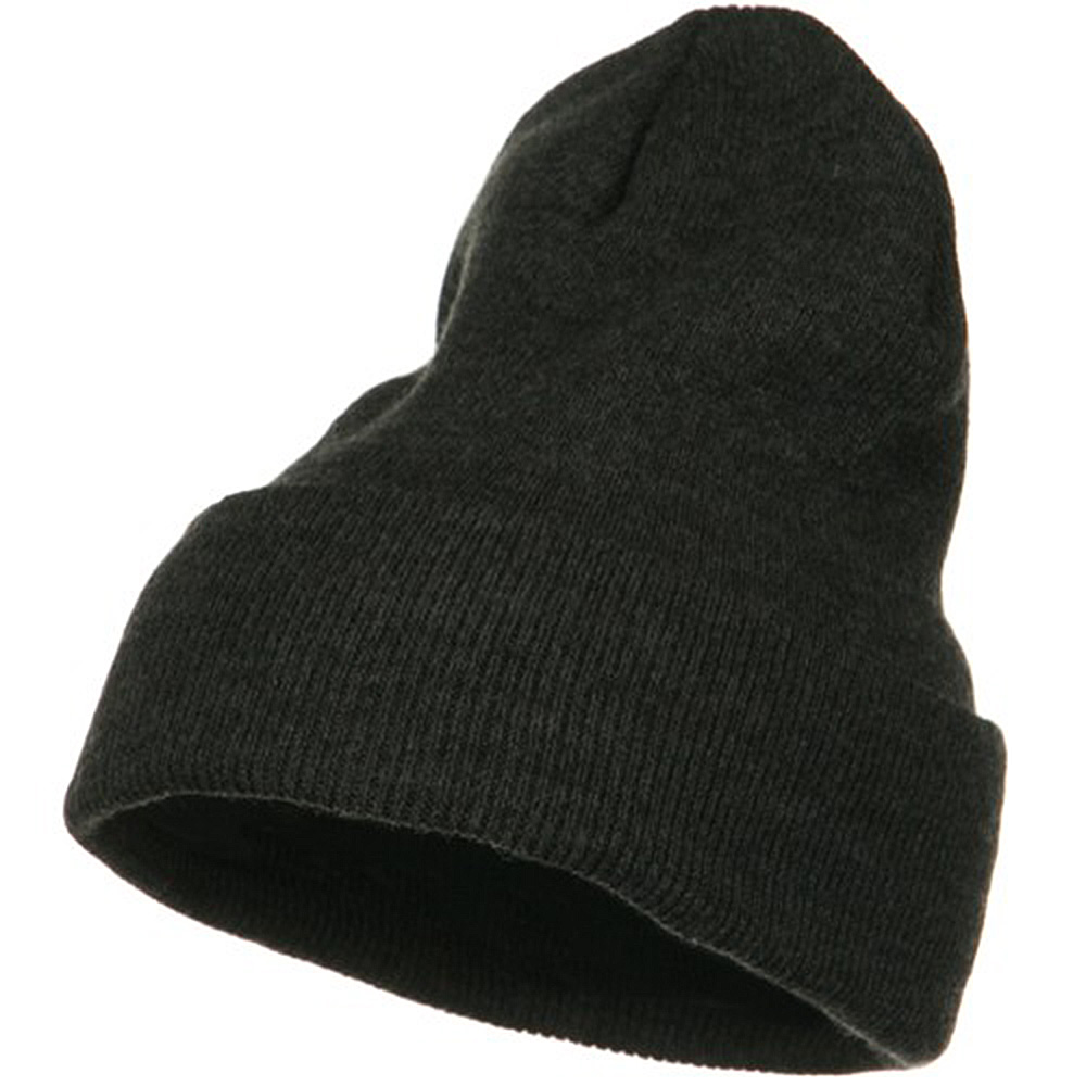 Big Stretch Plain Cuff Long Beanie - Charcoal - Hats and Caps Online Shop - Hip Head Gear