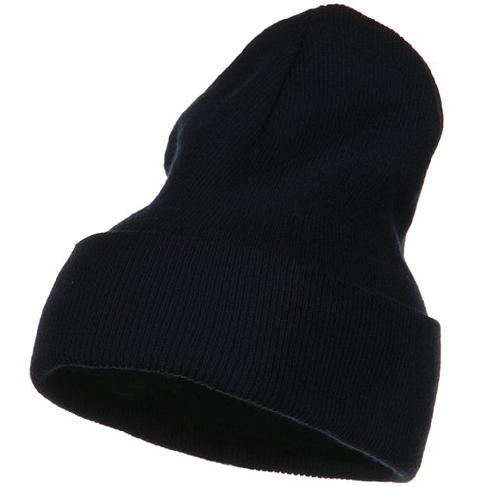 Big Stretch Plain Cuff Long Beanie - Navy