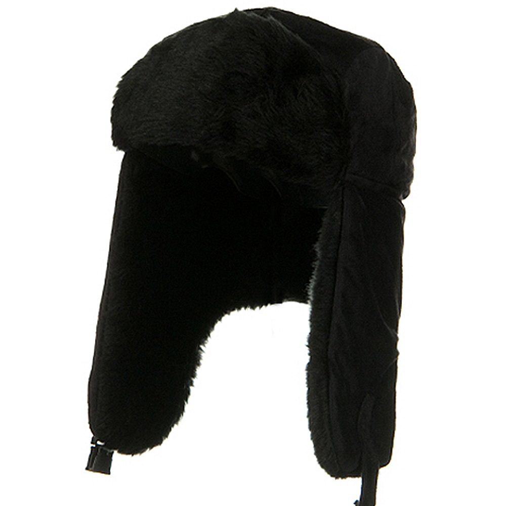 Fleece Trooper With Faux Fur Lining -  Black - Hats and Caps Online Shop - Hip Head Gear