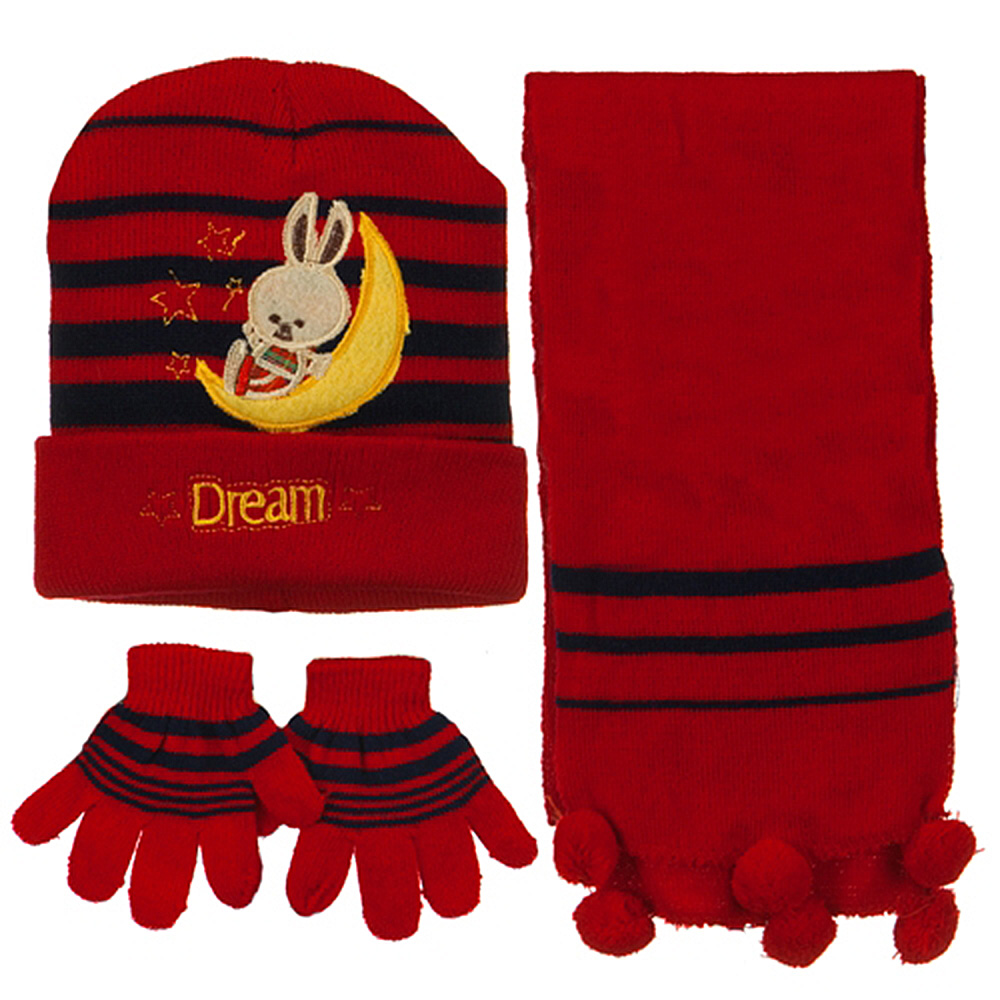 Toddler Dream Knit Hat Gloves and Scarf Set - Red