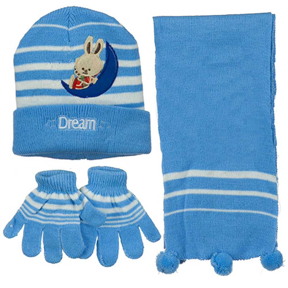 Toddler Dream Knit Hat Gloves and Scarf Set - Light Blue - Hats and Caps Online Shop - Hip Head Gear