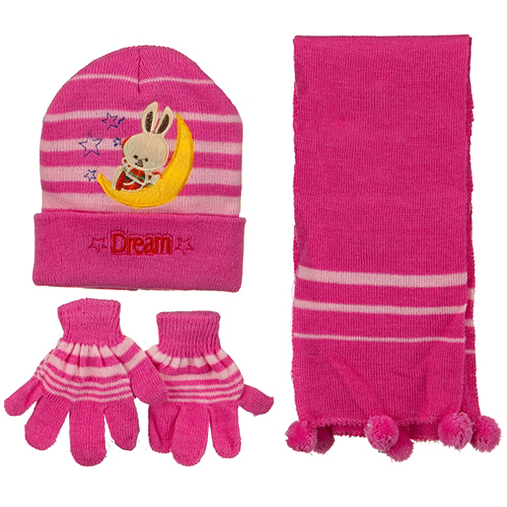 Toddler Dream Knit Hat Gloves and Scarf Set - Dark Pink - Hats and Caps Online Shop - Hip Head Gear