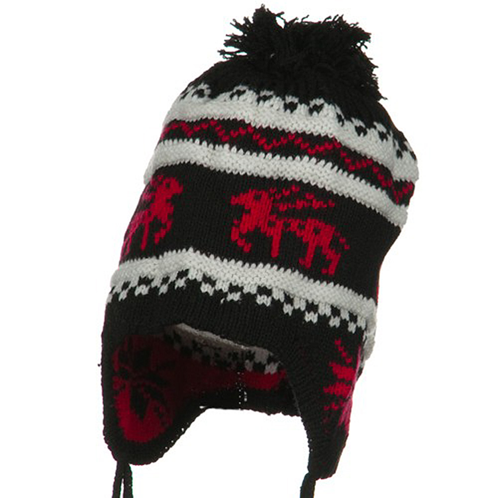 Infant Deer Ear Cover Knit Beanie Hat - Black - Hats and Caps Online Shop - Hip Head Gear
