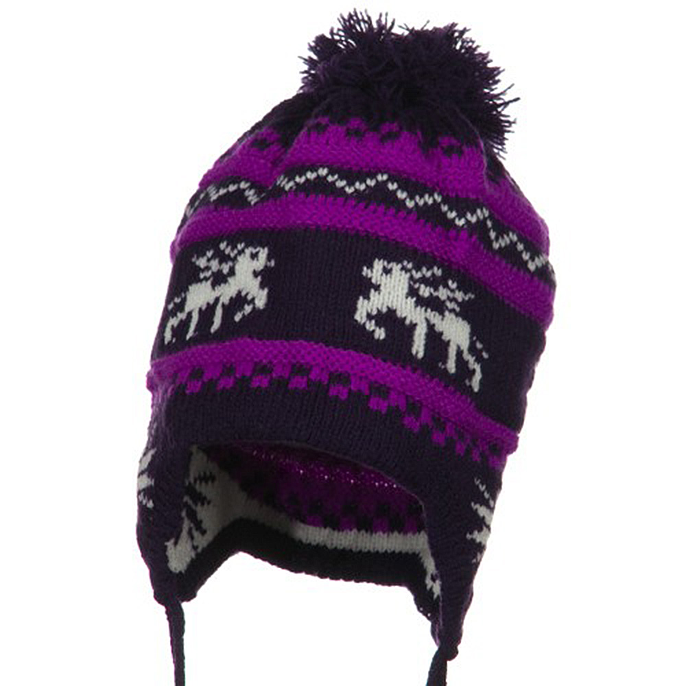 Infant Deer Ear Cover Knit Beanie Hat - Purple - Hats and Caps Online Shop - Hip Head Gear