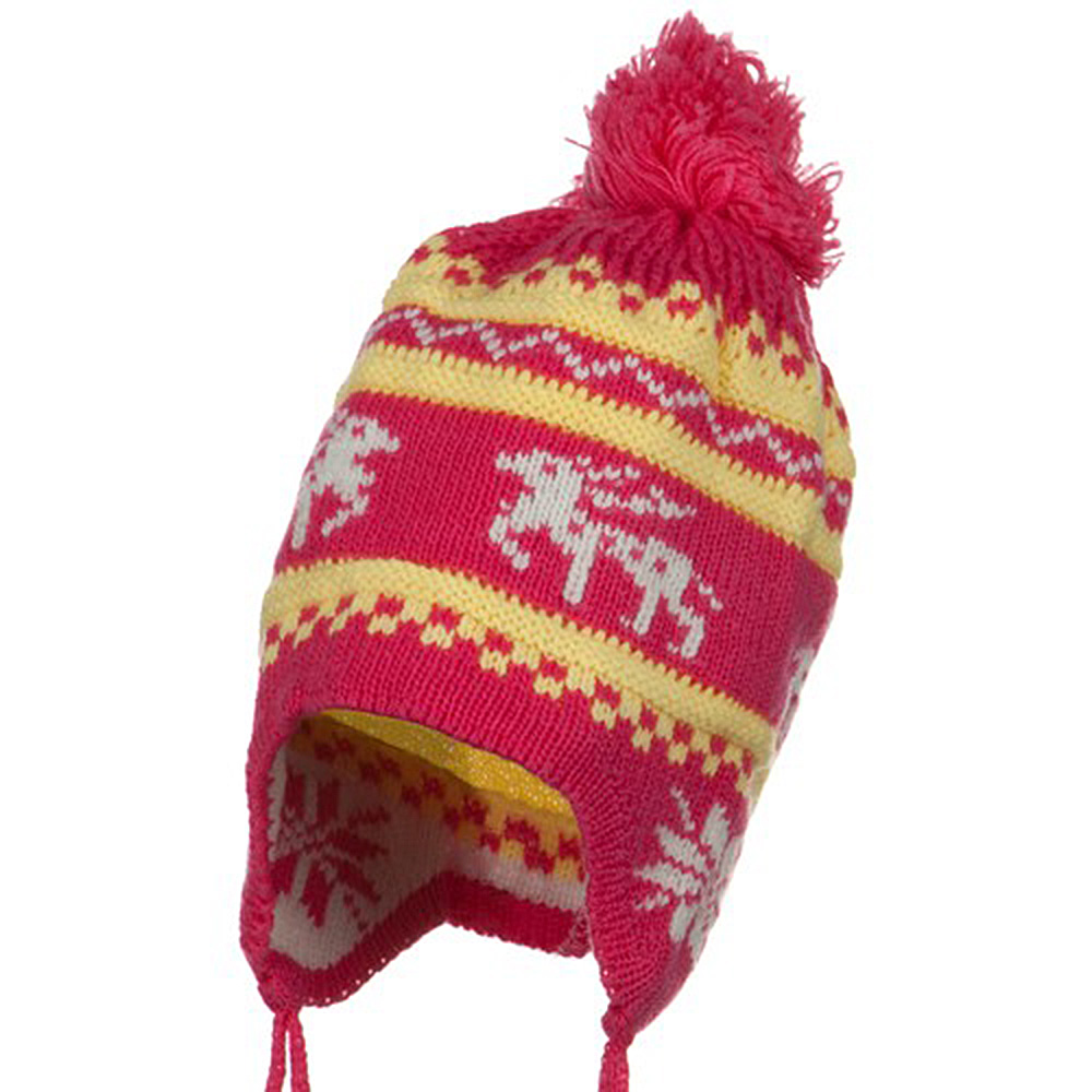 Infant Deer Ear Cover Knit Beanie Hat - Pink - Hats and Caps Online Shop - Hip Head Gear