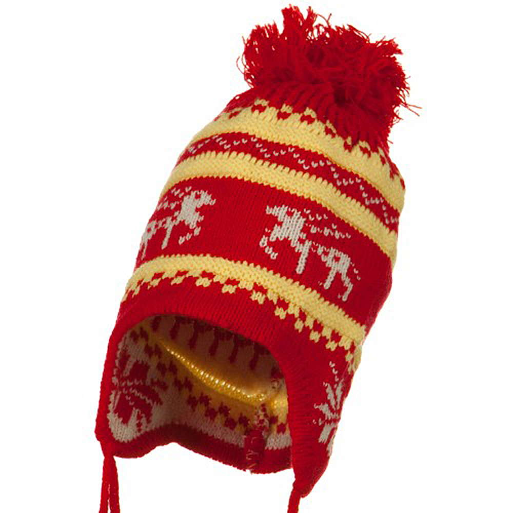 Infant Deer Ear Cover Knit Beanie Hat - Red - Hats and Caps Online Shop - Hip Head Gear