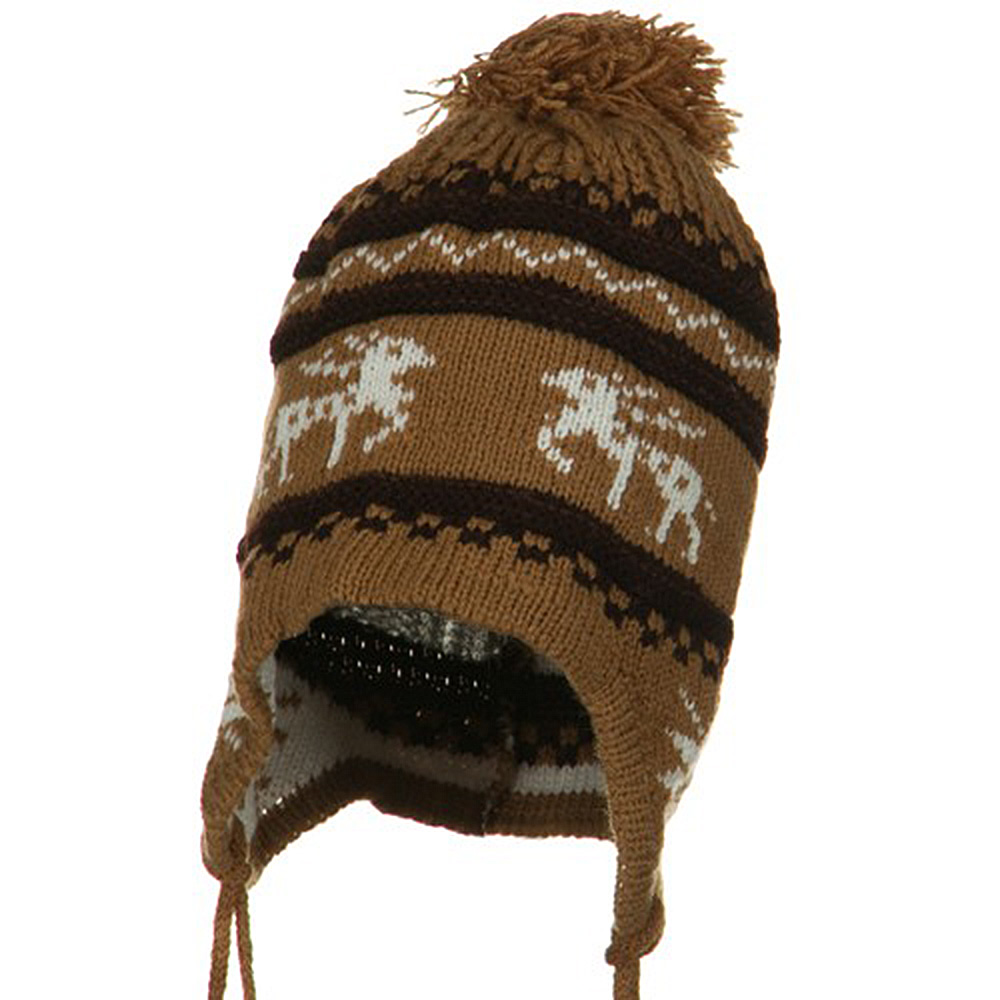 Infant Deer Ear Cover Knit Beanie Hat - Brown - Hats and Caps Online Shop - Hip Head Gear