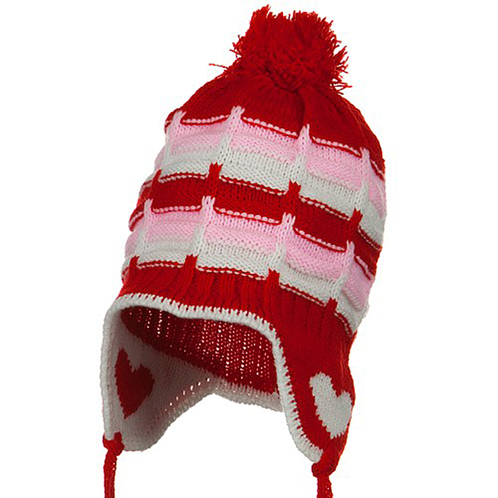 Infant Heart Ear Cover Knit Beanie Hat - Red - Hats and Caps Online Shop - Hip Head Gear