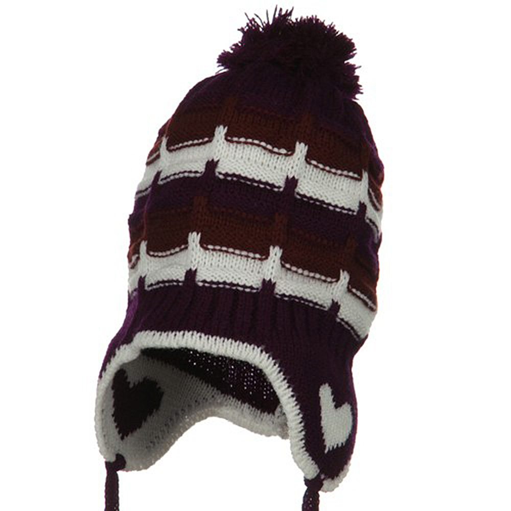 Infant Heart Ear Cover Knit Beanie Hat - Purple - Hats and Caps Online Shop - Hip Head Gear