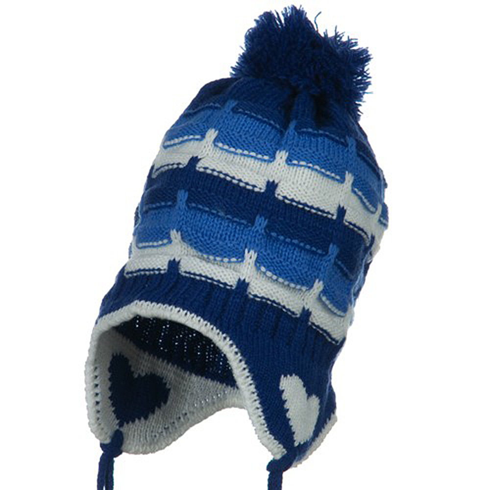 Infant Heart Ear Cover Knit Beanie Hat - Royal - Hats and Caps Online Shop - Hip Head Gear