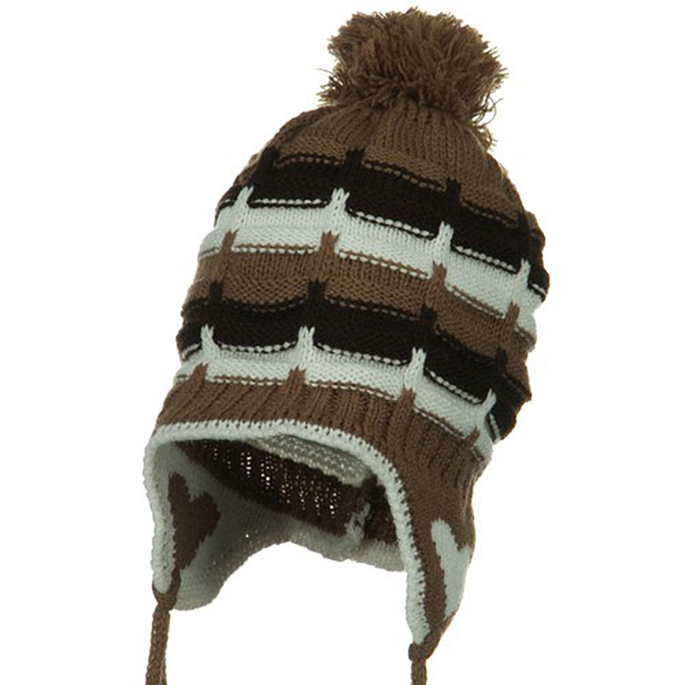 Infant Heart Ear Cover Knit Beanie Hat - Brown - Hats and Caps Online Shop - Hip Head Gear