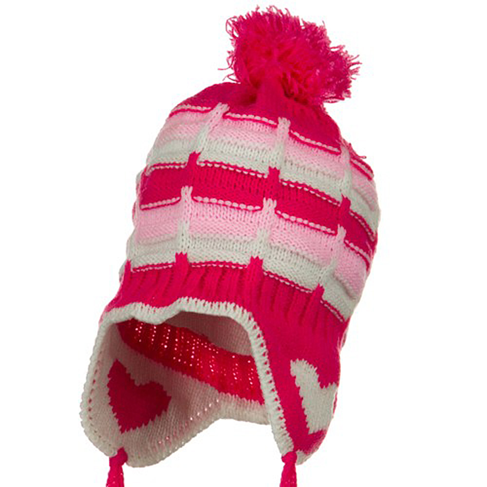 Infant Heart Ear Cover Knit Beanie Hat - Pink - Hats and Caps Online Shop - Hip Head Gear