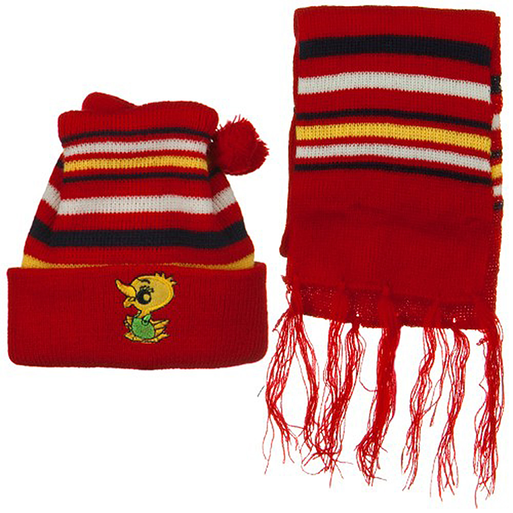 Infant Knit Beanie and Scarf Set - Red