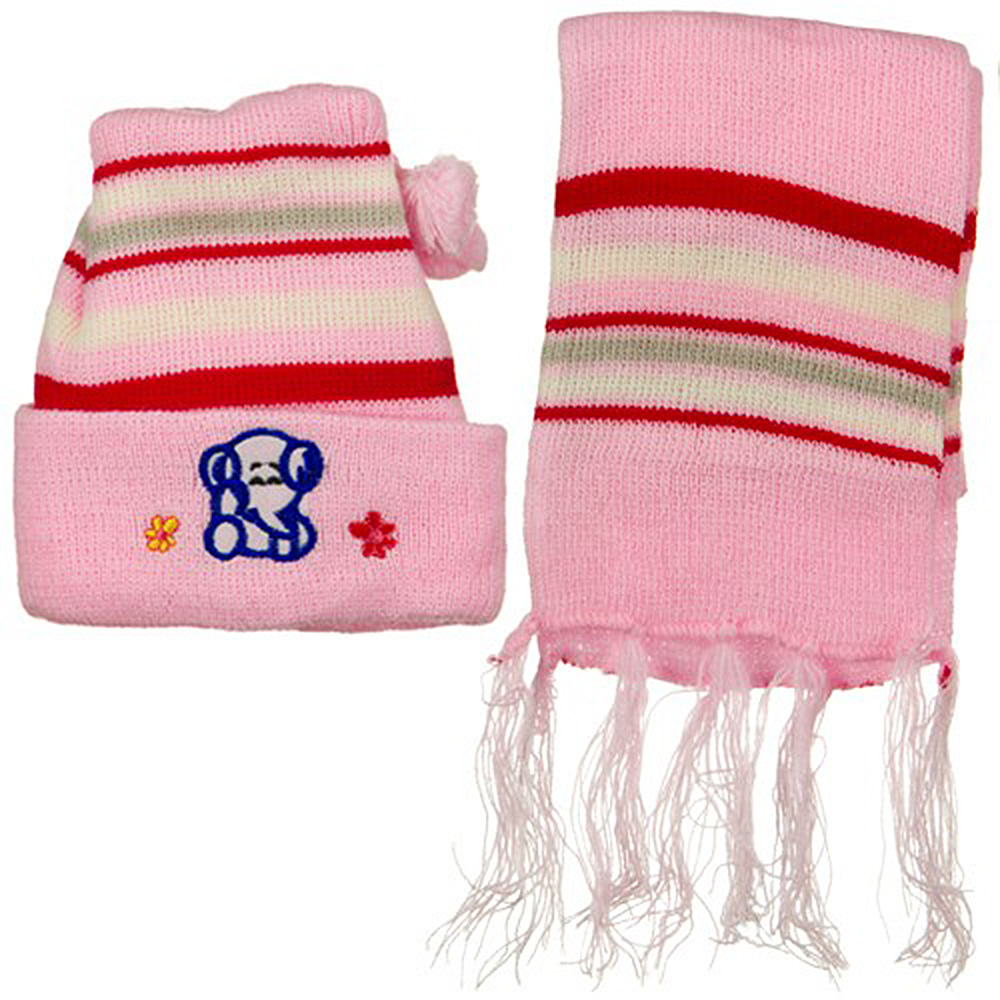 Infant Knit Beanie and Scarf Set - Pink