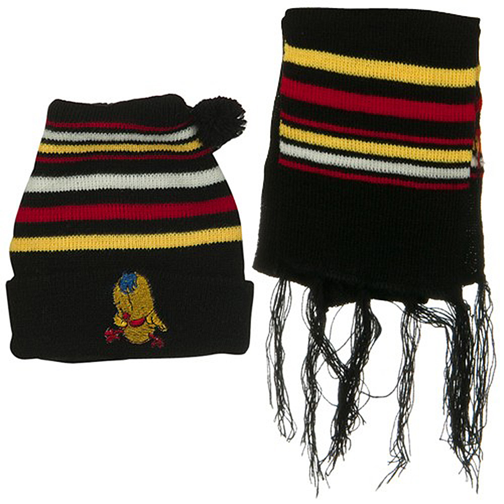 Infant Knit Beanie and Scarf Set - Black