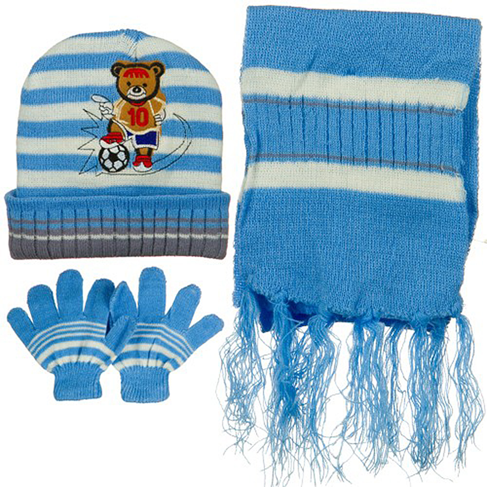 Toddler Soccer Knit Hat Gloves and Scarf Set - Light Blue White - Hats and Caps Online Shop - Hip Head Gear