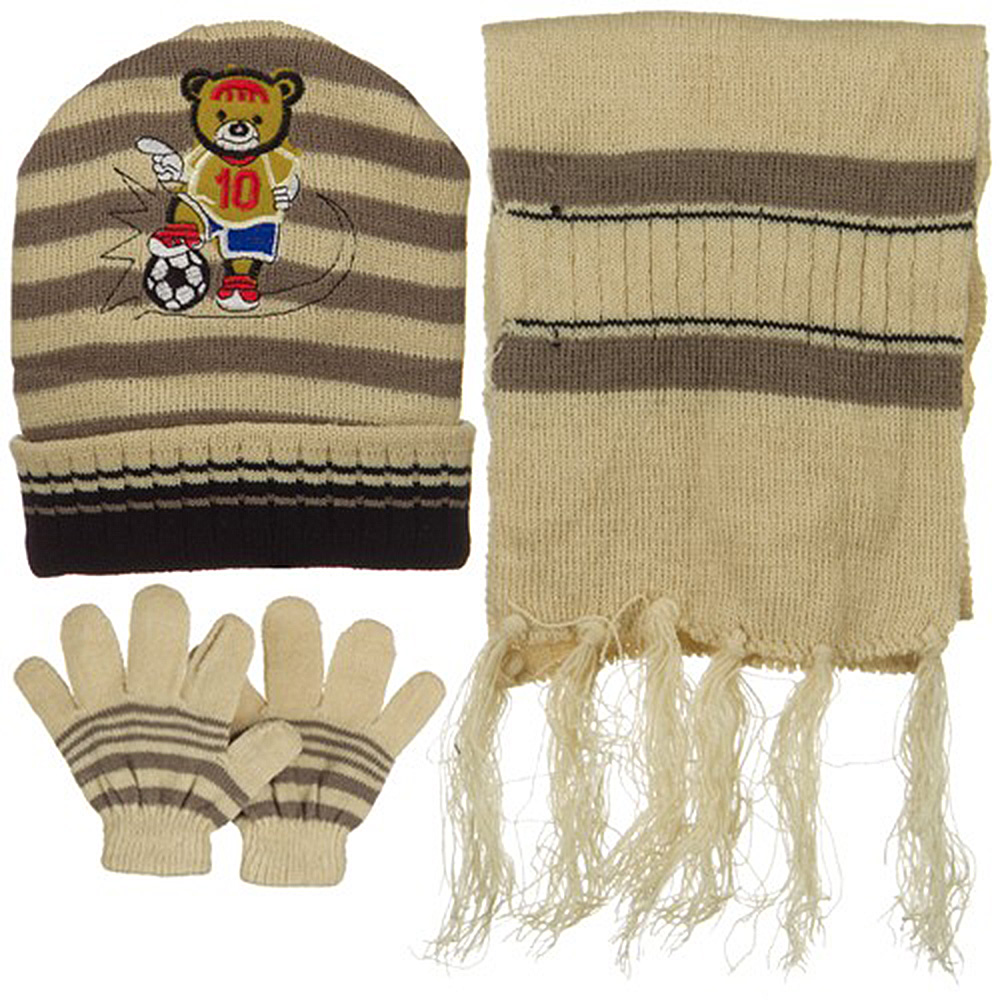 Toddler Soccer Knit Hat Gloves and Scarf Set - Beige Khaki - Hats and Caps Online Shop - Hip Head Gear