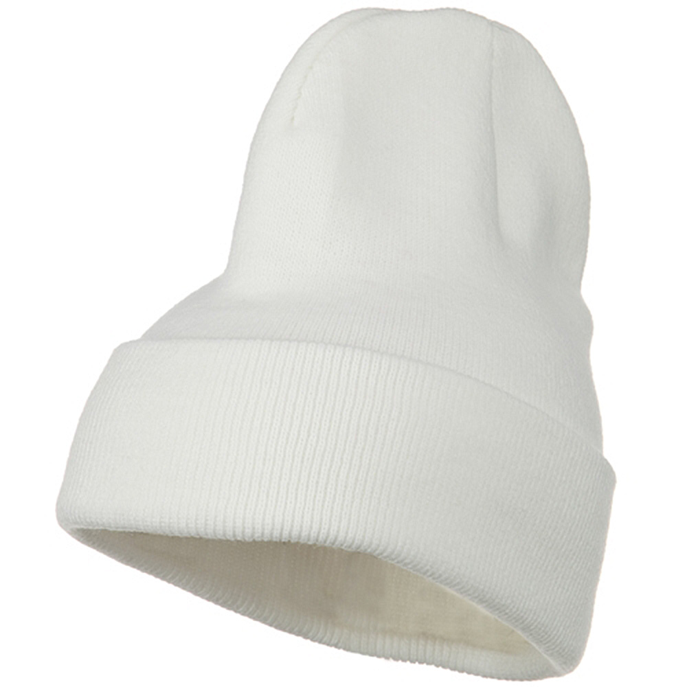 Big Stretch Plain Cuff Long Beanie - White - Hats and Caps Online Shop - Hip Head Gear