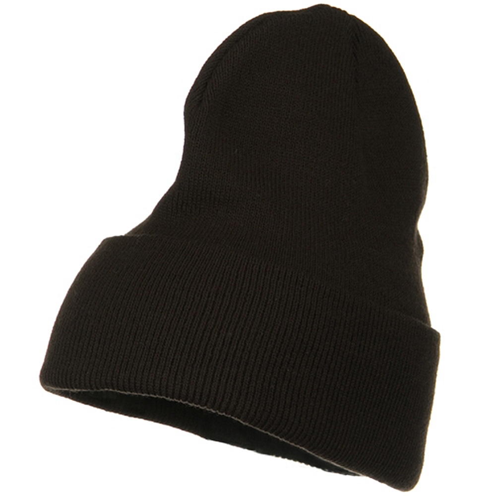Big Stretch Plain Cuff Long Beanie - Brown - Hats and Caps Online Shop - Hip Head Gear