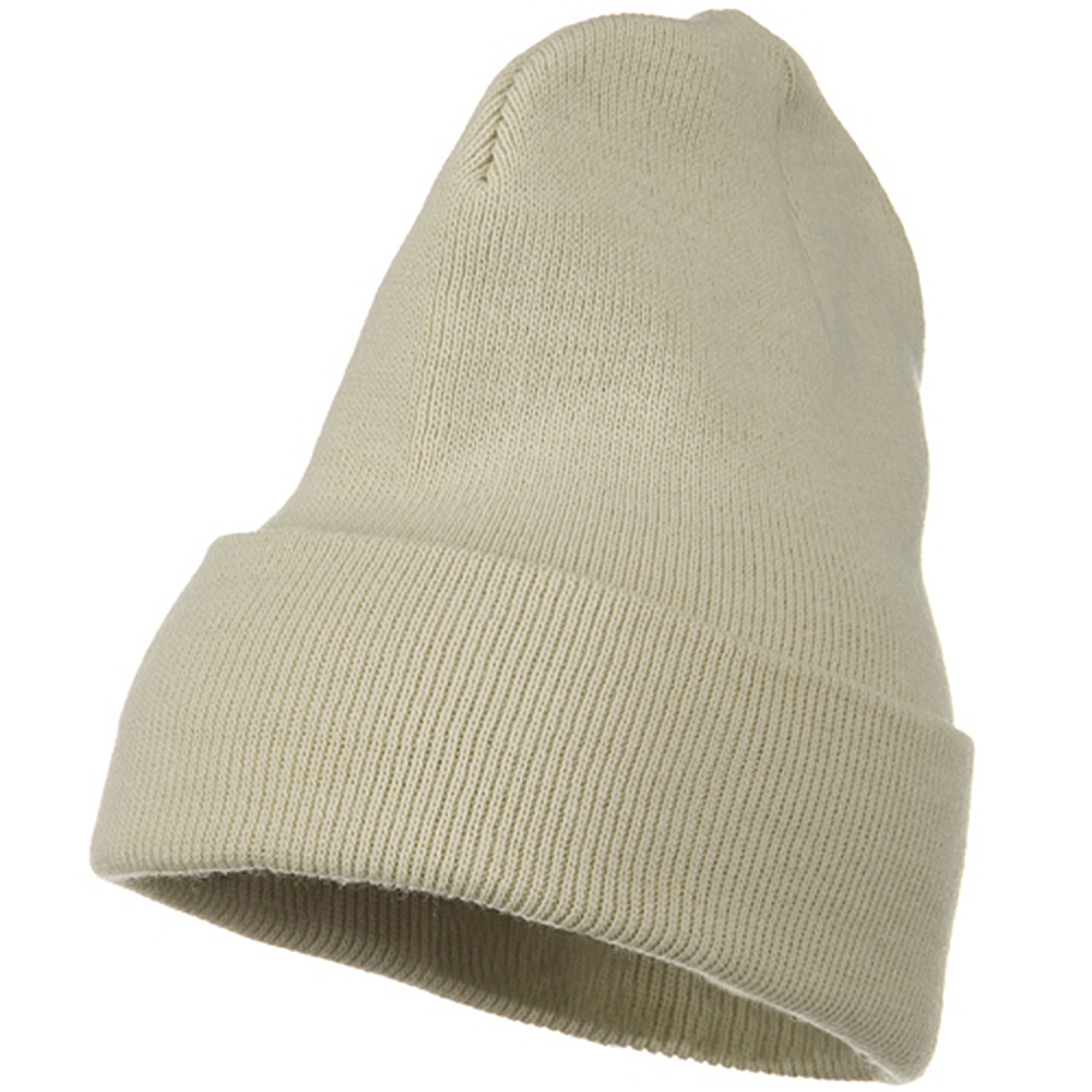 Big Stretch Plain Cuff Long Beanie - Beige - Hats and Caps Online Shop - Hip Head Gear