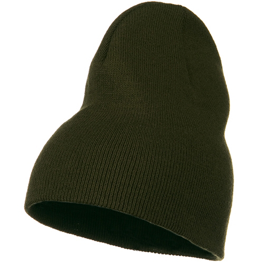 Big Stretch Plain Classic Short Beanie - Olive - Hats and Caps Online Shop - Hip Head Gear