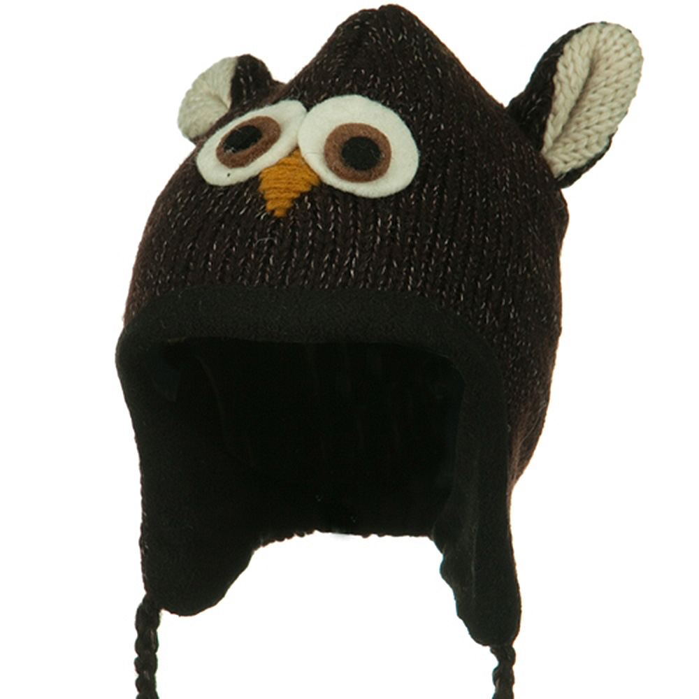 Adult Animal Wool Ski Beanie - Brown Owl - Hats and Caps Online Shop - Hip Head Gear