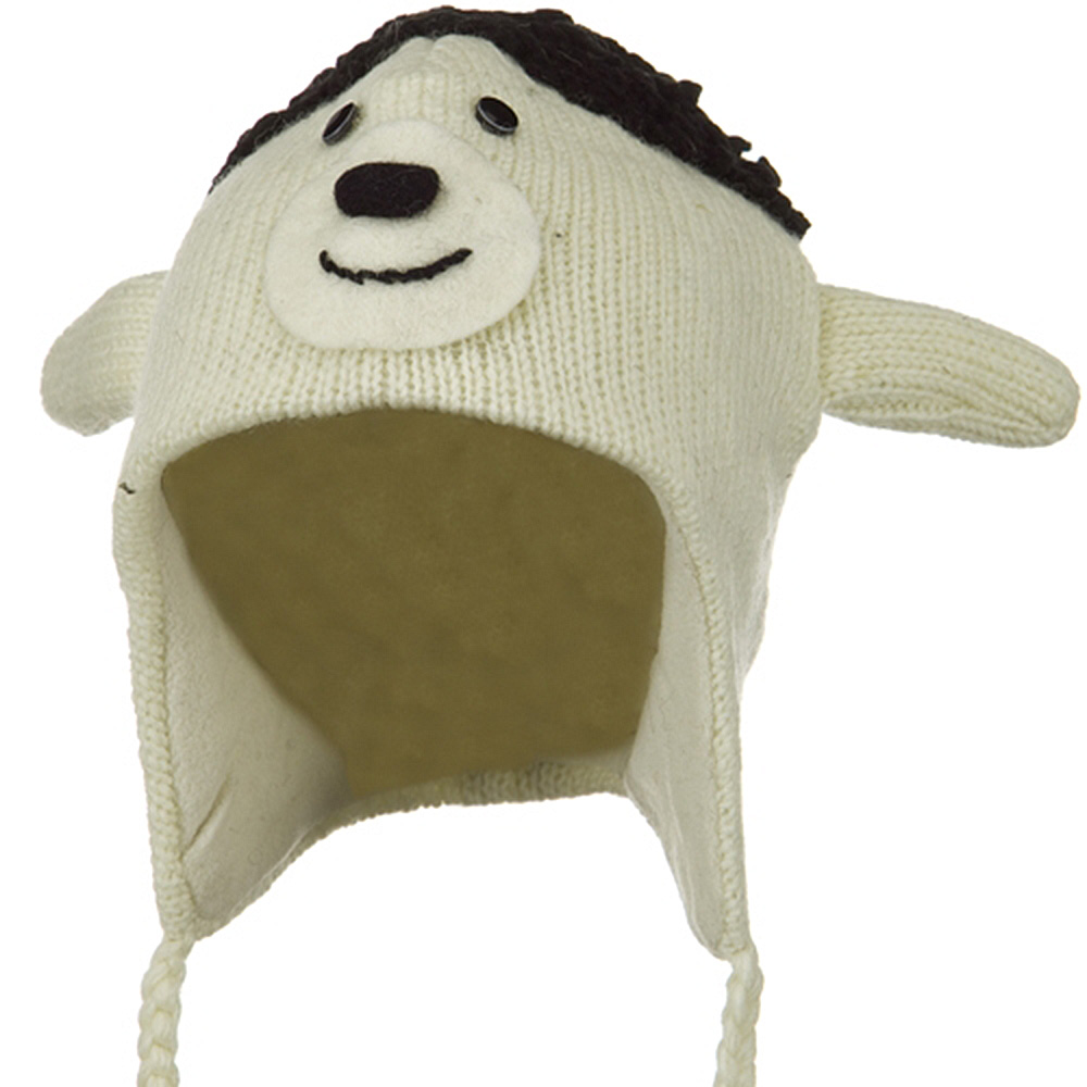 Adult Animal Wool Ski Beanie - Sheep
