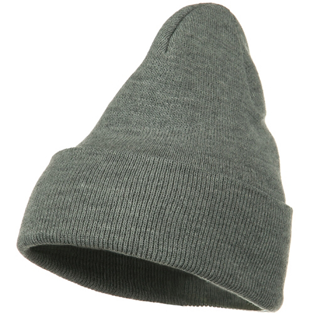 Big Stretch Plain Cuff Long Beanie - Grey - Hats and Caps Online Shop - Hip Head Gear