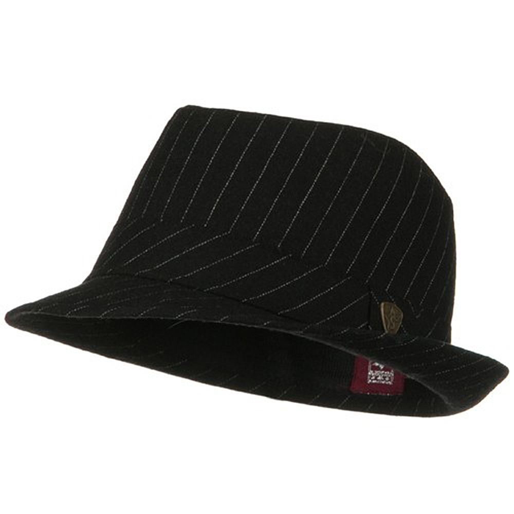 ML Wool Blend Pinstripe Fedora - Black - Hats and Caps Online Shop - Hip Head Gear