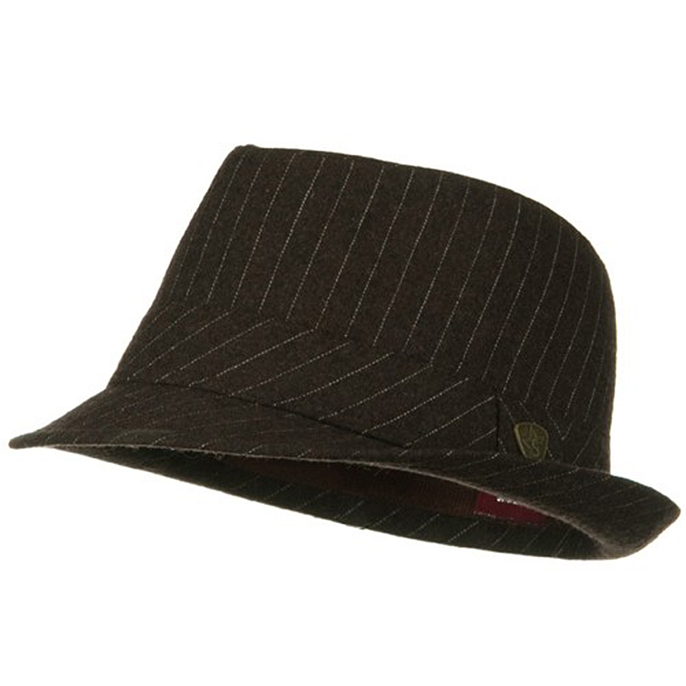 ML Wool Blend Pinstripe Fedora - Brown - Hats and Caps Online Shop - Hip Head Gear