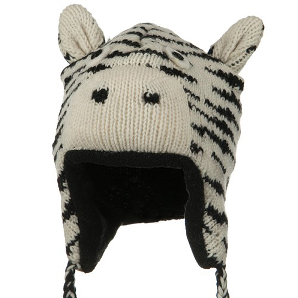 Adult Animal Wool Ski Beanie - Zebra