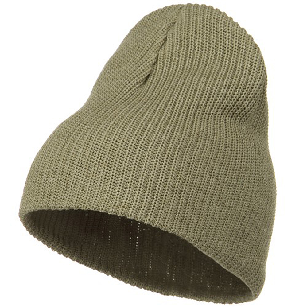 Eco Cotton Ribbed Big Classic Beanie - Khaki - Hats and Caps Online Shop - Hip Head Gear