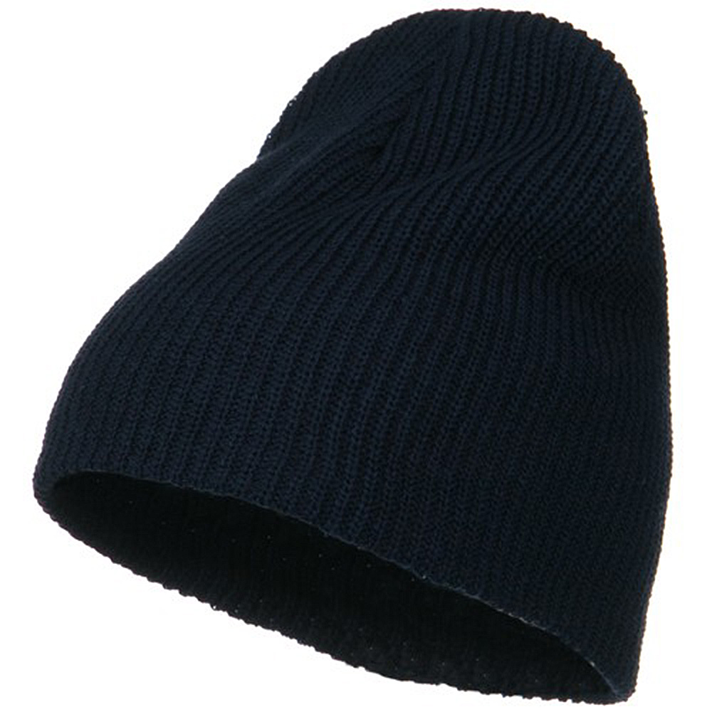 Eco Cotton Ribbed Big Classic Beanie - Navy - Hats and Caps Online Shop - Hip Head Gear