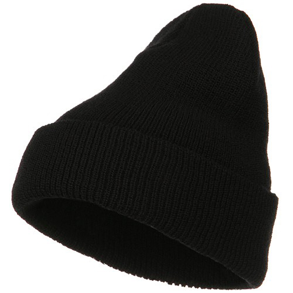 Big Stretch Heavy Wool Military Cuff Beanie - Black - Hats and Caps Online Shop - Hip Head Gear